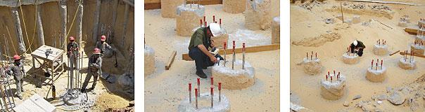 Com baixo teor de argila, o solo do terreno apresentava boas condições para a execução das fundações. As elevadas cargas das torres foram distribuídas por meio de estacas hélice contínuas com diâmetro de 0,80 m e 15 m de comprimento