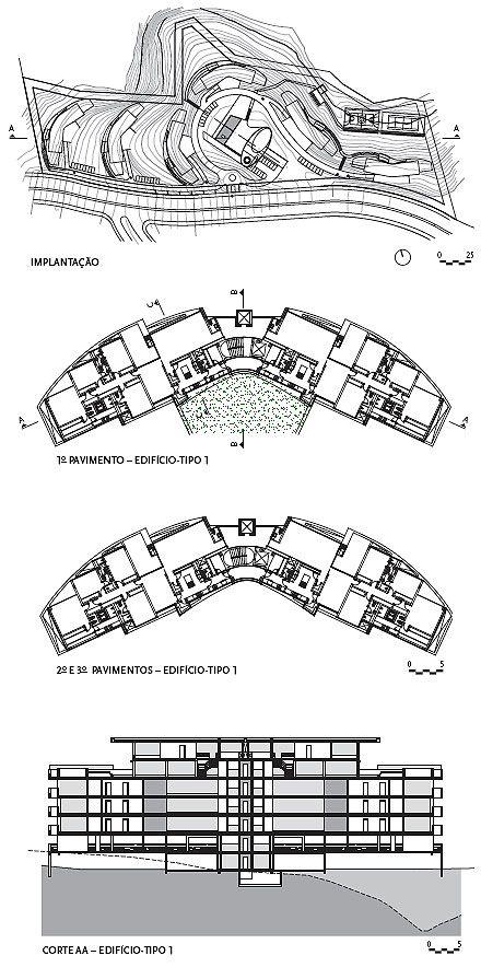 Implantação e Corte AA do Edifício tipo 1
