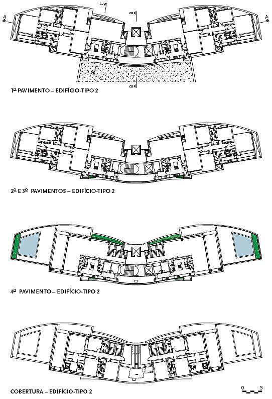 Planta dos pavimentos - Edifício tipo 2