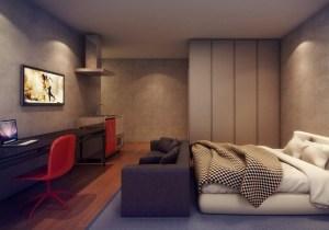 Ambiente quarto/sala de um micro-apartamento (Divulgação/Vitacon)