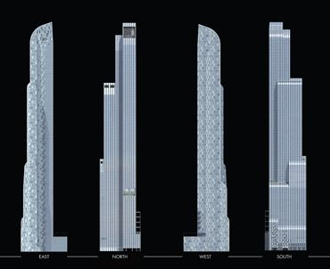 Nova torre apresenta faces envidraçadas e assimétricas que se reduzem e se transformam à medida que se elevam, apresentando desenhos diferentes para cada um dos pontos cardeais