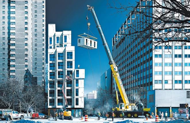 Representação artística do edifício My Micro NY após a montagem das unidades pré-fabricadas